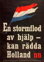 Zweedse affiche over hulp na de watersnoodramp