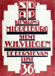 Verkiezingsaffiche SDAP met als lijsttrekker W.H. Vliegen.