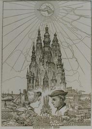 kerstplaat 1956,  als bijlage van de P.Z.C. 12 Zeeuwse torens