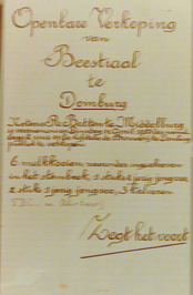 openbare verkoping van beestiaal op de hofstede de Brouwerij
