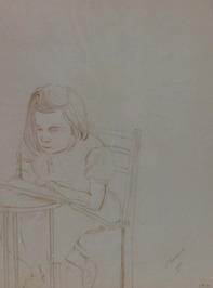 portret van een zittend meisje