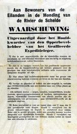 strooibiljet, waarschuwing evacuatie