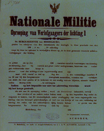 oproeping der verlofgangers der lichting 1 van de Nationale militie
