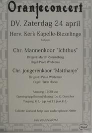 oranjeconcert met o.a. het Chr. Mannenkoor Ichthus en het Chr. Jongerenkoor Matt…