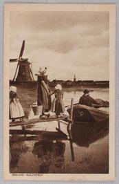 vrouw met juk, overzetveer; molen