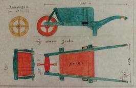 tekening van een kruiwagen