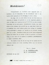 verkiezingsaffiche ondertekend door J.A. Bekaar en B.J. Doens