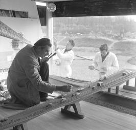 aanleg van het pavlioen Oosterscheldebrug
