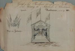 gezicht op het paviljoen gemaakt t.g.v. het bezoek van de koning te Kloosterzand…