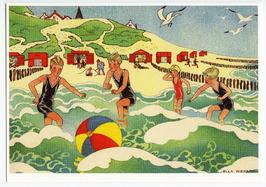 Illustratie van vier spelende jongens in zee uit het boek: Van vier vroolijke kl…