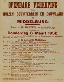 openbare verkoping van huizen, bouwterrein en bouwland aan de Klarebeeklaan 1 en…