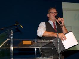 uitreiking Zeeuwse boekenprijs 2013; presentatie door Ron Lubbersen in de aula