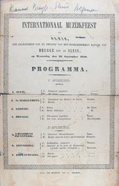 programma internationaal muziekfeest t.g.v. opening kanaal van Brugge tot Sluis