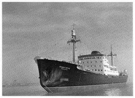Vrachtschip Indigirka op de rede van Vlissingen, 1957.