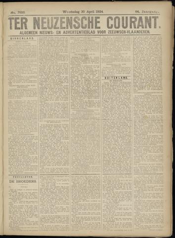 Ter Neuzensche Courant. Algemeen Nieuws- en Advertentieblad voor Zeeuwsch-Vlaanderen / Neuzensche Courant ... (idem) / (Algemeen) nieuws en advertentieblad voor Zeeuwsch-Vlaanderen 1924-04-30