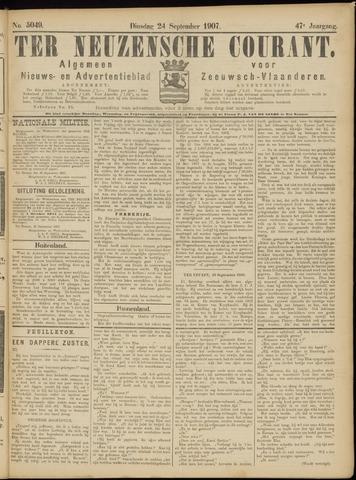 Ter Neuzensche Courant. Algemeen Nieuws- en Advertentieblad voor Zeeuwsch-Vlaanderen / Neuzensche Courant ... (idem) / (Algemeen) nieuws en advertentieblad voor Zeeuwsch-Vlaanderen 1907-09-24