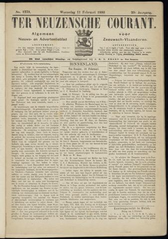 Ter Neuzensche Courant. Algemeen Nieuws- en Advertentieblad voor Zeeuwsch-Vlaanderen / Neuzensche Courant ... (idem) / (Algemeen) nieuws en advertentieblad voor Zeeuwsch-Vlaanderen 1880-02-11