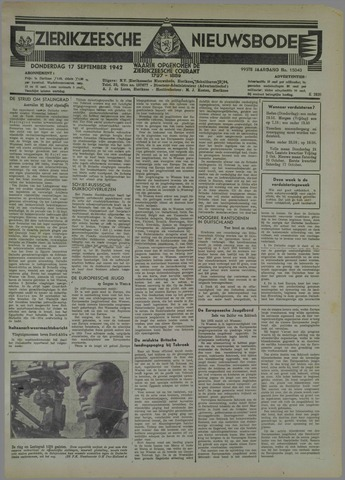 Zierikzeesche Nieuwsbode 1942-09-17