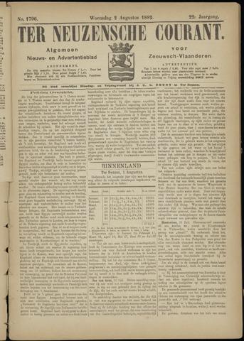 Ter Neuzensche Courant. Algemeen Nieuws- en Advertentieblad voor Zeeuwsch-Vlaanderen / Neuzensche Courant ... (idem) / (Algemeen) nieuws en advertentieblad voor Zeeuwsch-Vlaanderen 1882-08-02