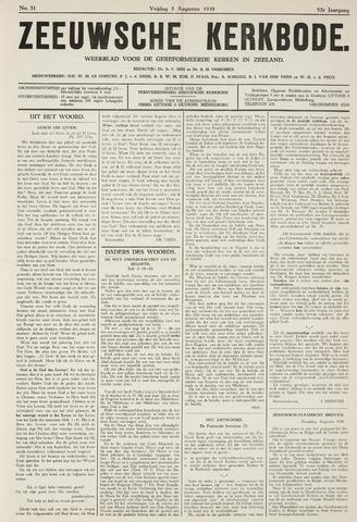 Zeeuwsche kerkbode, weekblad gewijd aan de belangen der gereformeerde kerken/ Zeeuwsch kerkblad 1938-08-05