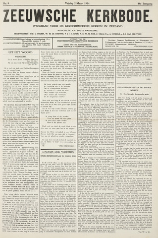 Zeeuwsche kerkbode, weekblad gewijd aan de belangen der gereformeerde kerken/ Zeeuwsch kerkblad 1934-03-02