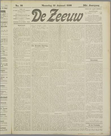 De Zeeuw. Christelijk-historisch nieuwsblad voor Zeeland 1916-01-17