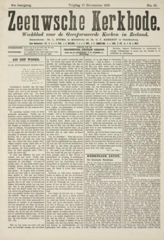 Zeeuwsche kerkbode, weekblad gewijd aan de belangen der gereformeerde kerken/ Zeeuwsch kerkblad 1916-11-17