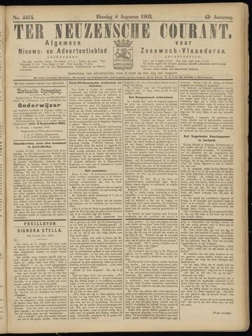 Ter Neuzensche Courant. Algemeen Nieuws- en Advertentieblad voor Zeeuwsch-Vlaanderen / Neuzensche Courant ... (idem) / (Algemeen) nieuws en advertentieblad voor Zeeuwsch-Vlaanderen 1903-08-04