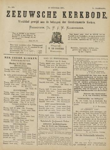 Zeeuwsche kerkbode, weekblad gewijd aan de belangen der gereformeerde kerken/ Zeeuwsch kerkblad 1891-10-10