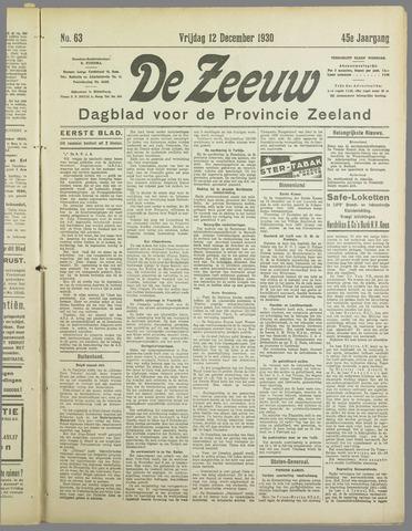 De Zeeuw. Christelijk-historisch nieuwsblad voor Zeeland 1930-12-12