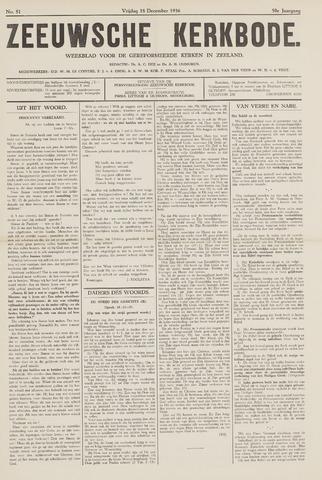 Zeeuwsche kerkbode, weekblad gewijd aan de belangen der gereformeerde kerken/ Zeeuwsch kerkblad 1936-12-18