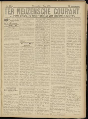 Ter Neuzensche Courant. Algemeen Nieuws- en Advertentieblad voor Zeeuwsch-Vlaanderen / Neuzensche Courant ... (idem) / (Algemeen) nieuws en advertentieblad voor Zeeuwsch-Vlaanderen 1924-06-04