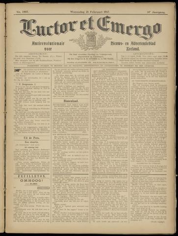 Luctor et Emergo. Antirevolutionair nieuws- en advertentieblad voor Zeeland / Zeeuwsch-Vlaanderen. Orgaan ter verspreiding van de christelijke beginselen in Zeeuwsch-Vlaanderen 1917-02-21
