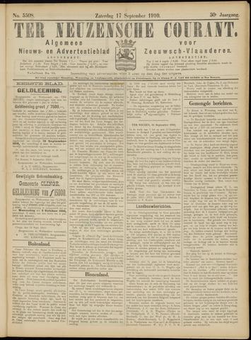 Ter Neuzensche Courant. Algemeen Nieuws- en Advertentieblad voor Zeeuwsch-Vlaanderen / Neuzensche Courant ... (idem) / (Algemeen) nieuws en advertentieblad voor Zeeuwsch-Vlaanderen 1910-09-17