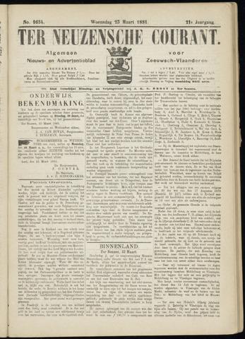 Ter Neuzensche Courant. Algemeen Nieuws- en Advertentieblad voor Zeeuwsch-Vlaanderen / Neuzensche Courant ... (idem) / (Algemeen) nieuws en advertentieblad voor Zeeuwsch-Vlaanderen 1881-03-23