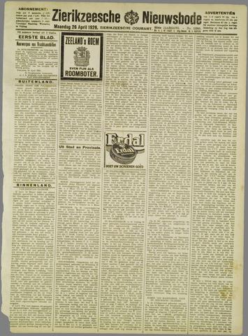 Zierikzeesche Nieuwsbode 1926-04-26