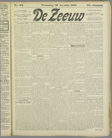 De Zeeuw. Christelijk-historisch nieuwsblad voor Zeeland 1924-08-20