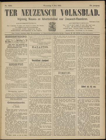Ter Neuzensch Volksblad. Vrijzinnig nieuws- en advertentieblad voor Zeeuwsch- Vlaanderen / Zeeuwsch Nieuwsblad. Nieuws- en advertentieblad voor Zeeland 1912-05-08