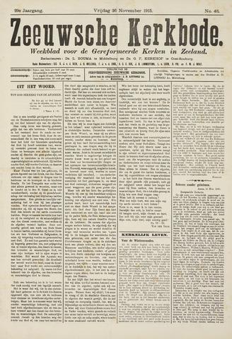 Zeeuwsche kerkbode, weekblad gewijd aan de belangen der gereformeerde kerken/ Zeeuwsch kerkblad 1915-11-26