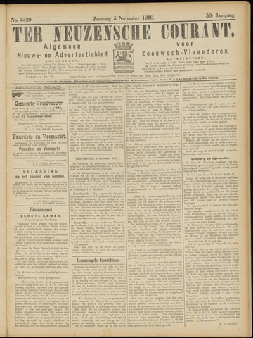 Ter Neuzensche Courant. Algemeen Nieuws- en Advertentieblad voor Zeeuwsch-Vlaanderen / Neuzensche Courant ... (idem) / (Algemeen) nieuws en advertentieblad voor Zeeuwsch-Vlaanderen 1910-11-05