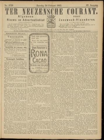 Ter Neuzensche Courant. Algemeen Nieuws- en Advertentieblad voor Zeeuwsch-Vlaanderen / Neuzensche Courant ... (idem) / (Algemeen) nieuws en advertentieblad voor Zeeuwsch-Vlaanderen 1912-02-24
