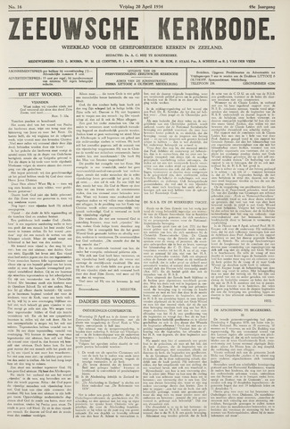 Zeeuwsche kerkbode, weekblad gewijd aan de belangen der gereformeerde kerken/ Zeeuwsch kerkblad 1934-04-20