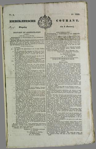 Zierikzeesche Courant 1831
