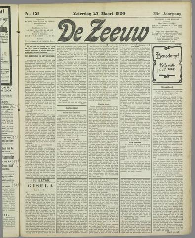 De Zeeuw. Christelijk-historisch nieuwsblad voor Zeeland 1920-03-27