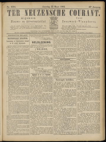 Ter Neuzensche Courant. Algemeen Nieuws- en Advertentieblad voor Zeeuwsch-Vlaanderen / Neuzensche Courant ... (idem) / (Algemeen) nieuws en advertentieblad voor Zeeuwsch-Vlaanderen 1902-03-22