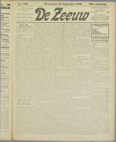 De Zeeuw. Christelijk-historisch nieuwsblad voor Zeeland 1916-09-13