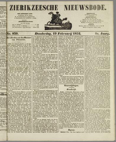 Zierikzeesche Nieuwsbode 1852-02-19