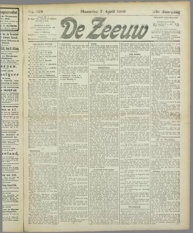 De Zeeuw. Christelijk-historisch nieuwsblad voor Zeeland 1919-04-07