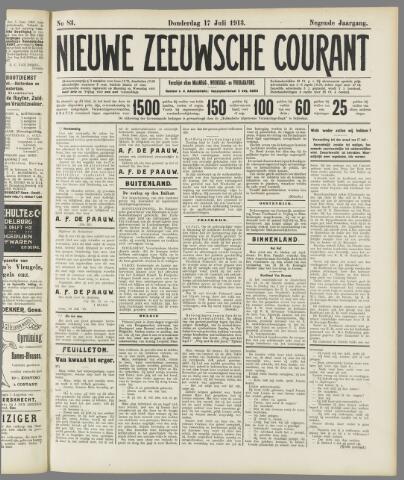 Nieuwe Zeeuwsche Courant 1913-07-17