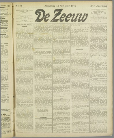 De Zeeuw. Christelijk-historisch nieuwsblad voor Zeeland 1919-10-13